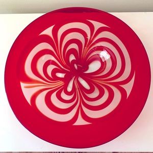Art glass red swirl bowl